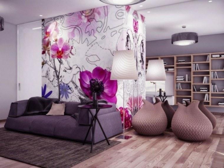 flores decoracion sofa mesa librero
