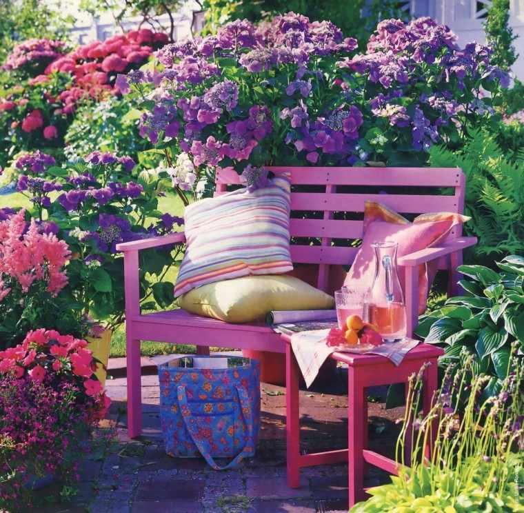 flores purpura bonitas banco rosa ideas naturalidad