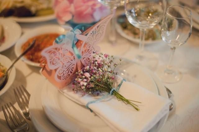 flores servilleta silvestre ideas lazo azul regalo