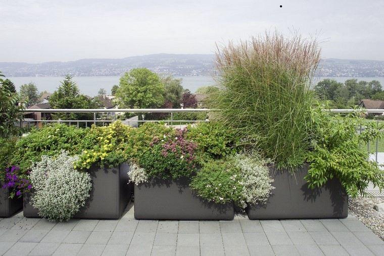 flores terraza balcon jardin acero