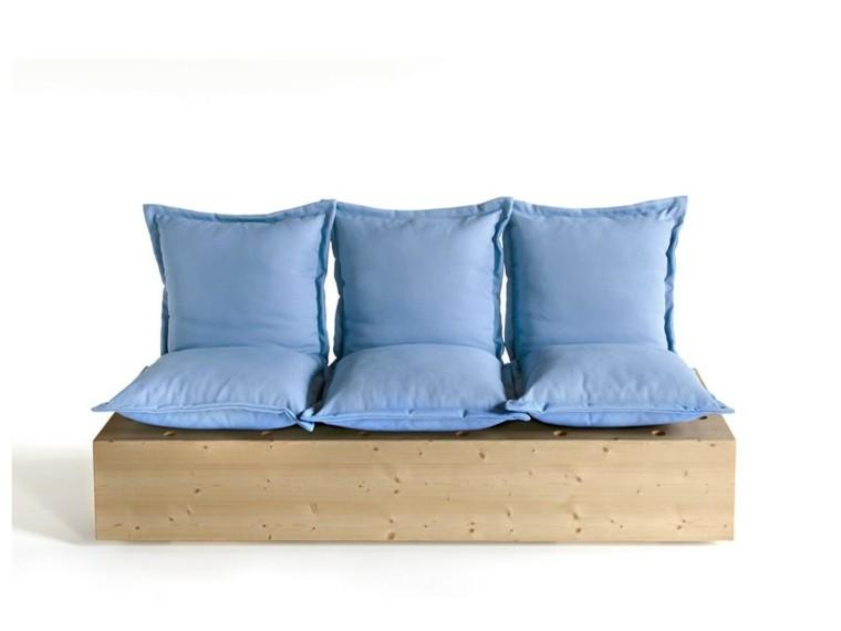 formabilio sofas madera cojines celeste