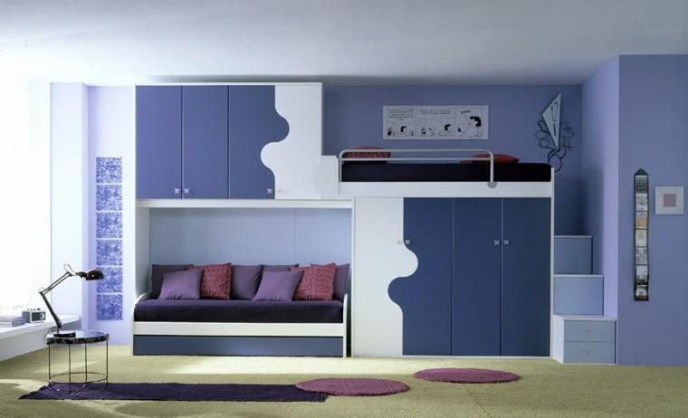 foto dormitorios juveniles azul violeta