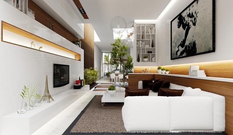 Fotos originales dise o de interiores detalles y m s for Sofas para salones estrechos