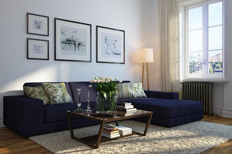 Fotos originales dise o de interiores detalles y m s - Cortinas azul marino ...