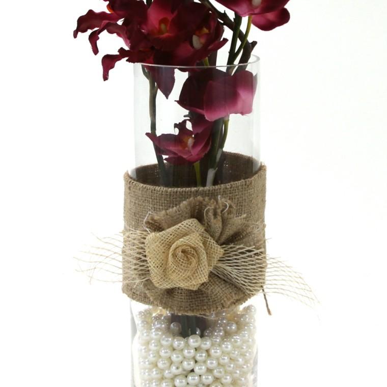 funda vaso perlas blancas flor
