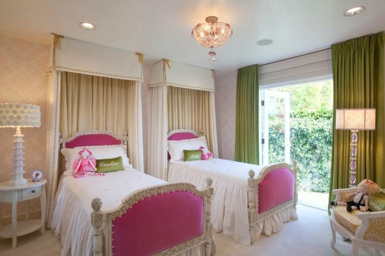 gemelas cuarto rosa lampara cortinas