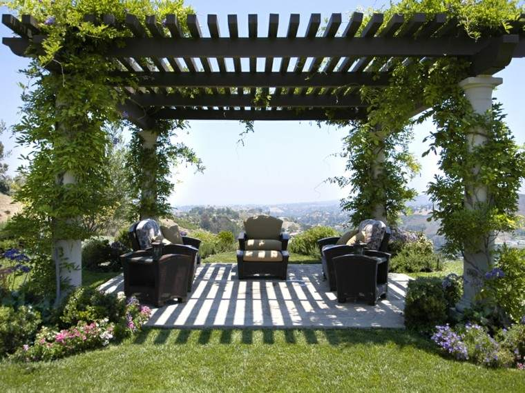 genial pergola jardin terraza muebles