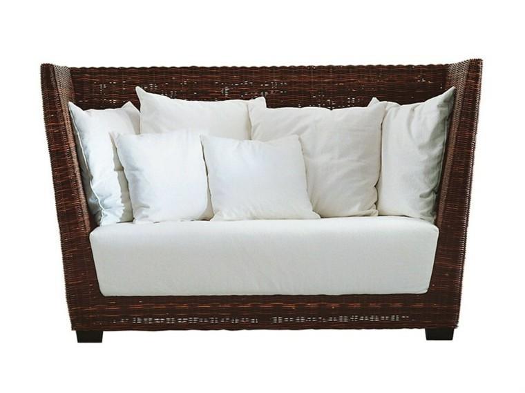 sofas mimbre marron blanco