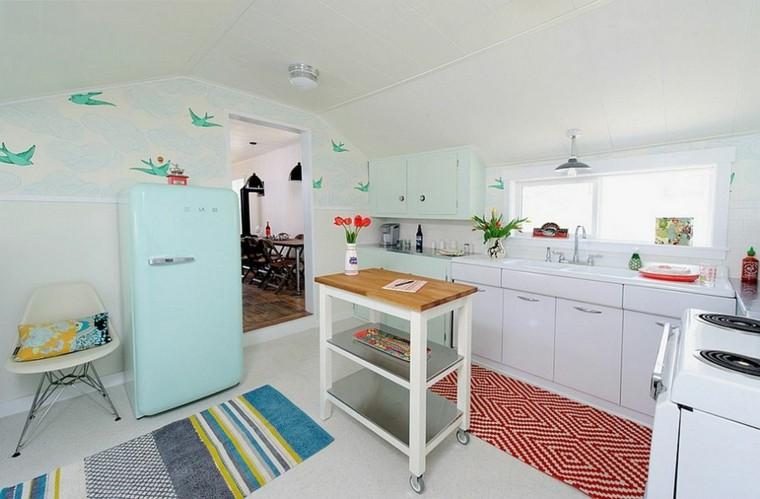 golondrinas azules papel pared cocina