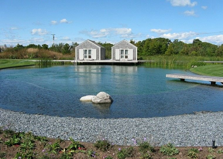 grande estupenda piscina guijarros grava