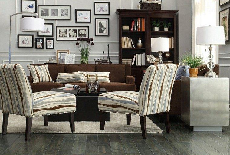 gris rayas salon lamparas muebles cuadros