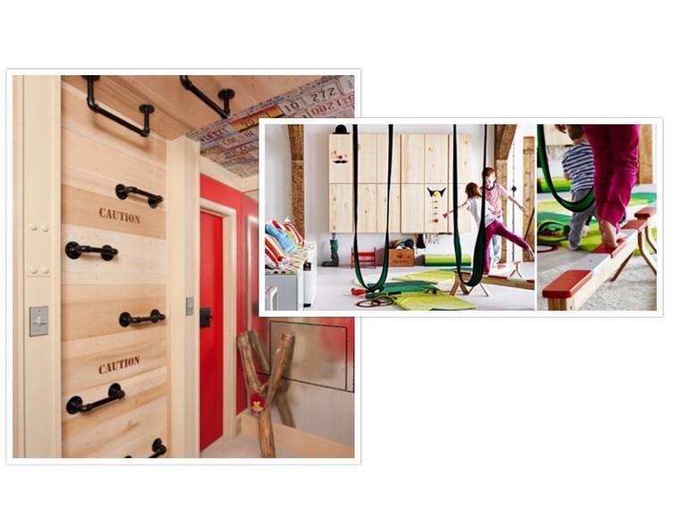 guarderia con creatividad escalar cuerdas madera escalera