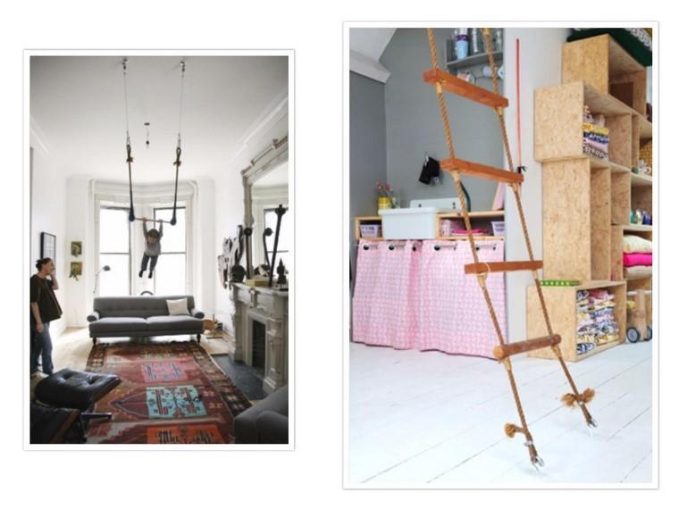 guarderia con creatividad escalera colgante sofa