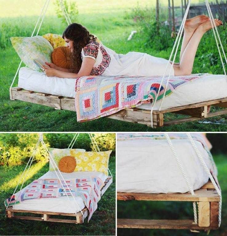 hamaca cama lectura exterior colgante palets