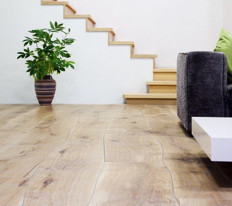 idea madera curvada natural salon moderno