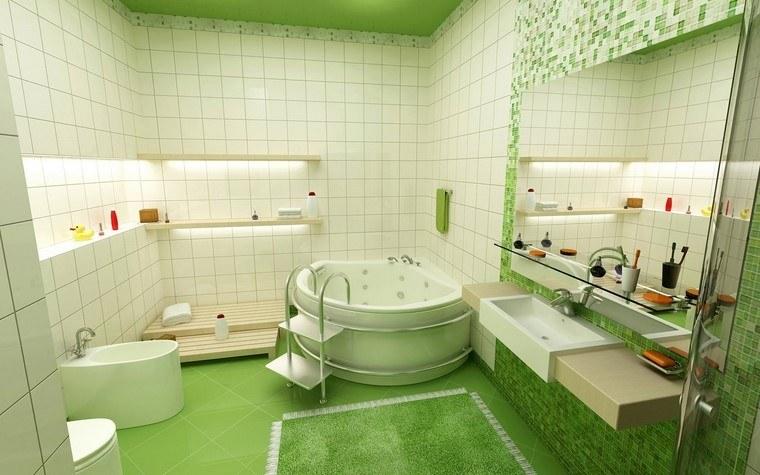 idea natural baño verde blanco moderno combinacion