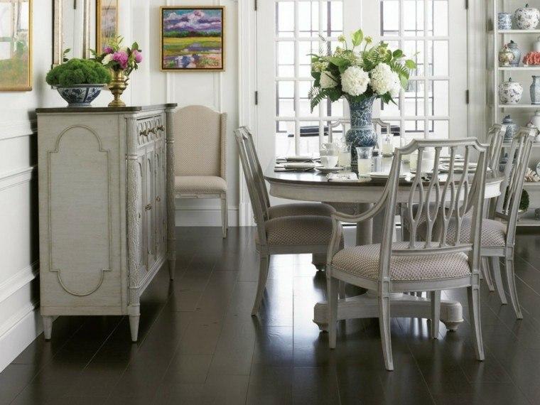 idea romantica mesa moderna blanca sillas centro flores