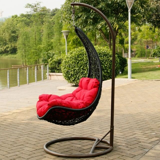 idea silla columpio cojin rojo idea moderna