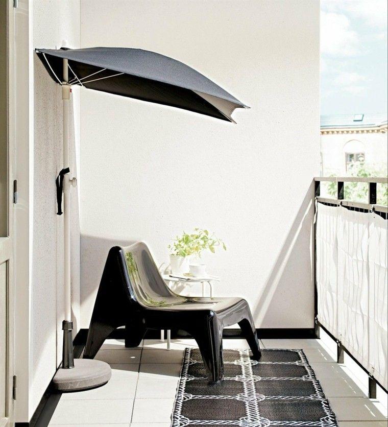 idea sombrilla negra pequena terraza ideas