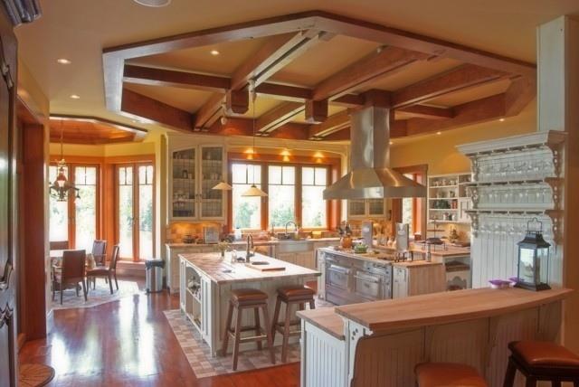 ideas artisticas diseño techo madera cocina