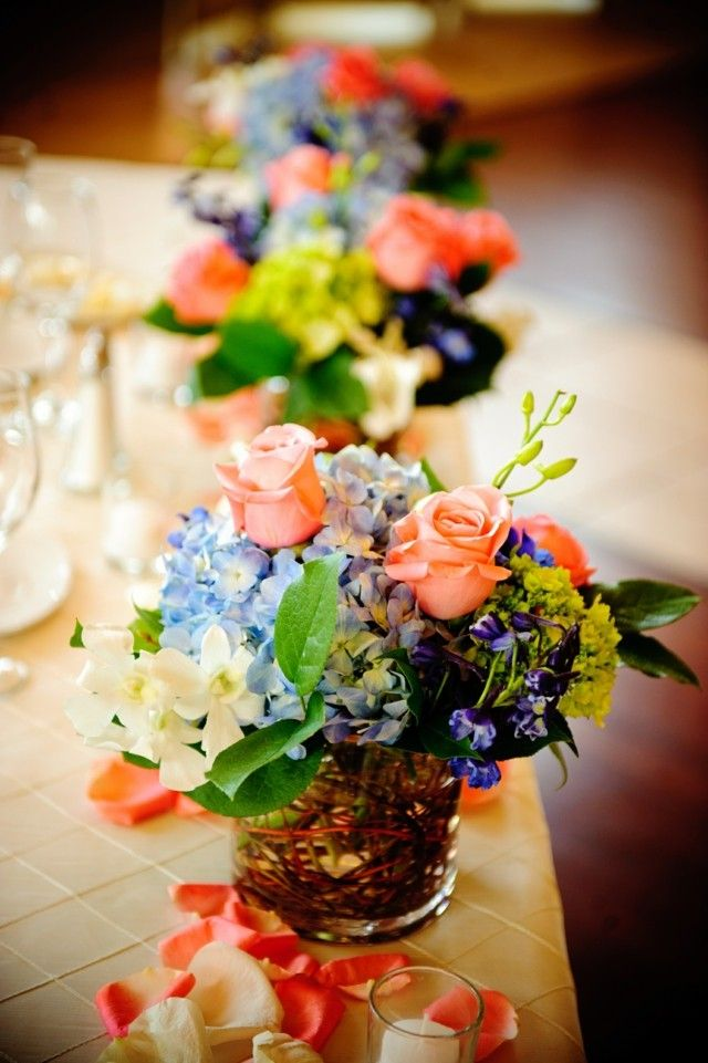 ideas elegantes mesa centro primavera ramo