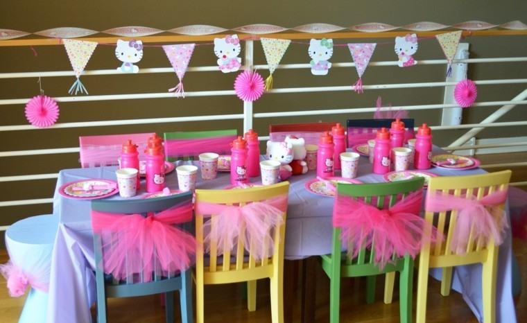 ideas fiesta cumpleanos sillas decoradas lazos rosa