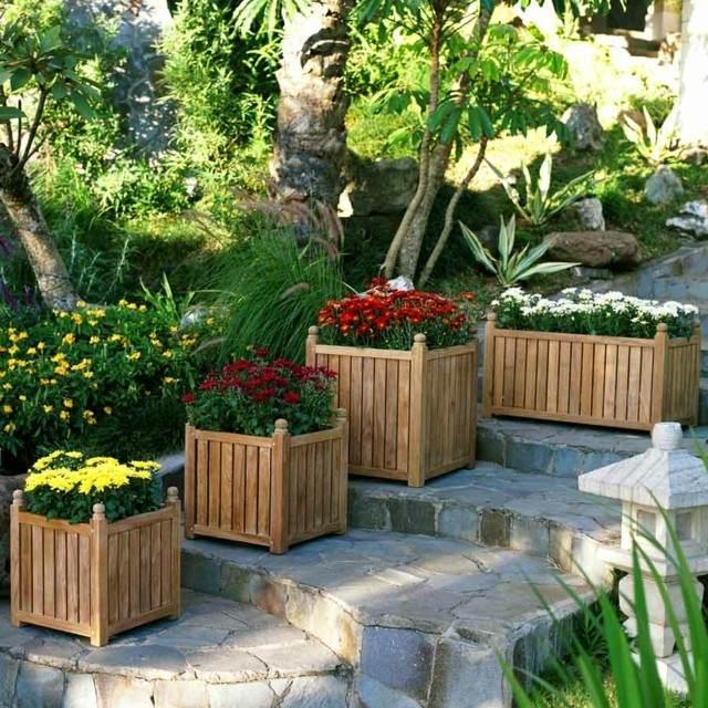 ideas jardin macetas madera grandes modernas resistentes