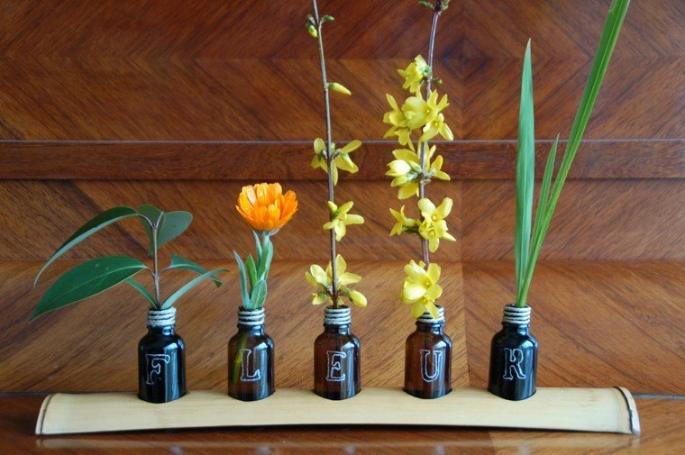 ideas jarrones botella pequenas flores modernas