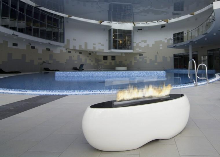 ideas lugar fuego moderno piscina blanco