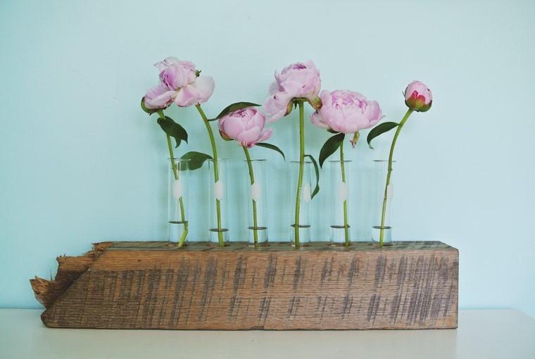 ideas manualidades jarron madera hecho mano flores