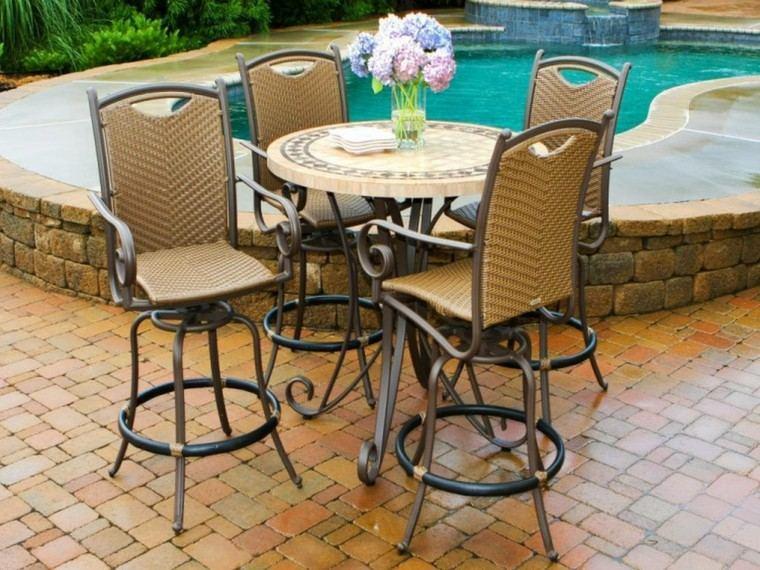 ideas modernas mesas jardin piscina pies acero pequena