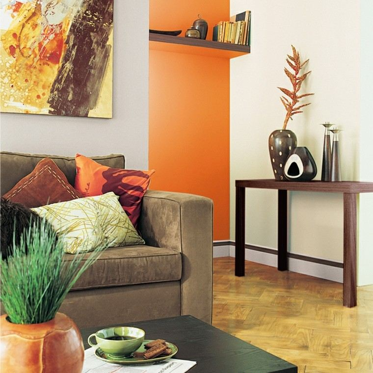 ideas para decorar salones jarron plantas naranja
