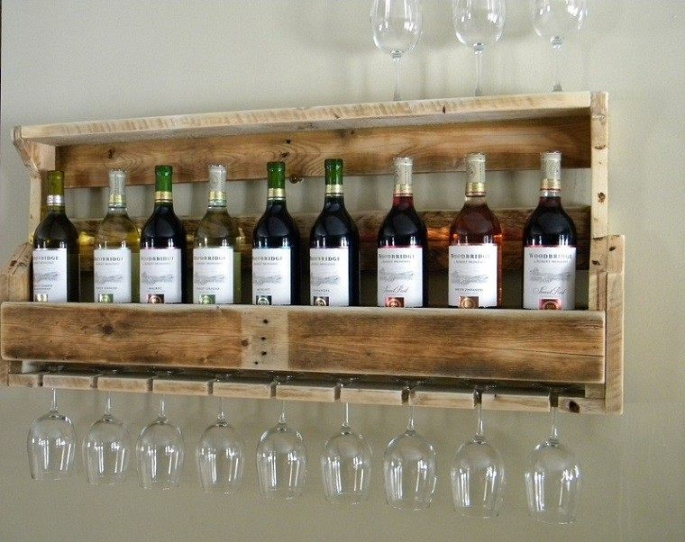 ideas para muebles estante vino copas palet madera