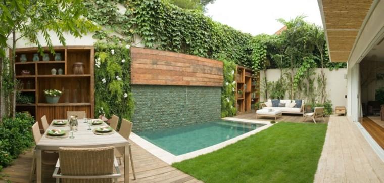 ideas patio cenas mesa beige suelo madera moderno