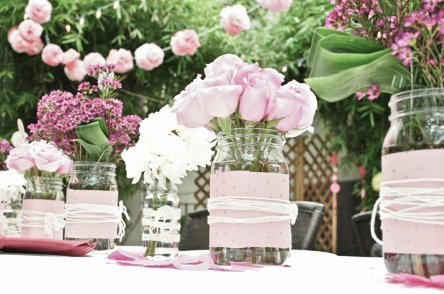 ideas recipiente cristal decorado rosa lazos blanco bonito