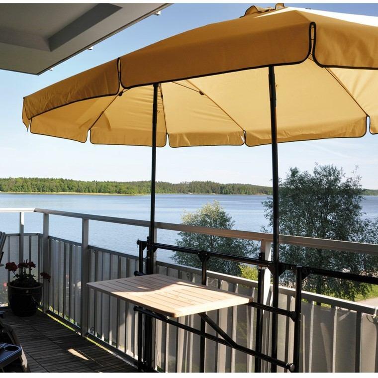 ideas sombrilla terrazas pequenas modernas n mesa