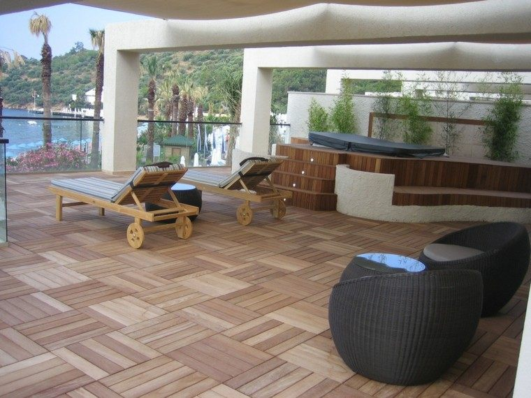 ideas unicos terraza madera tumbonas interesante