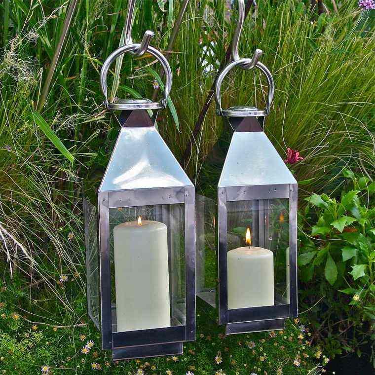 iluminacion jardines acero velas metal