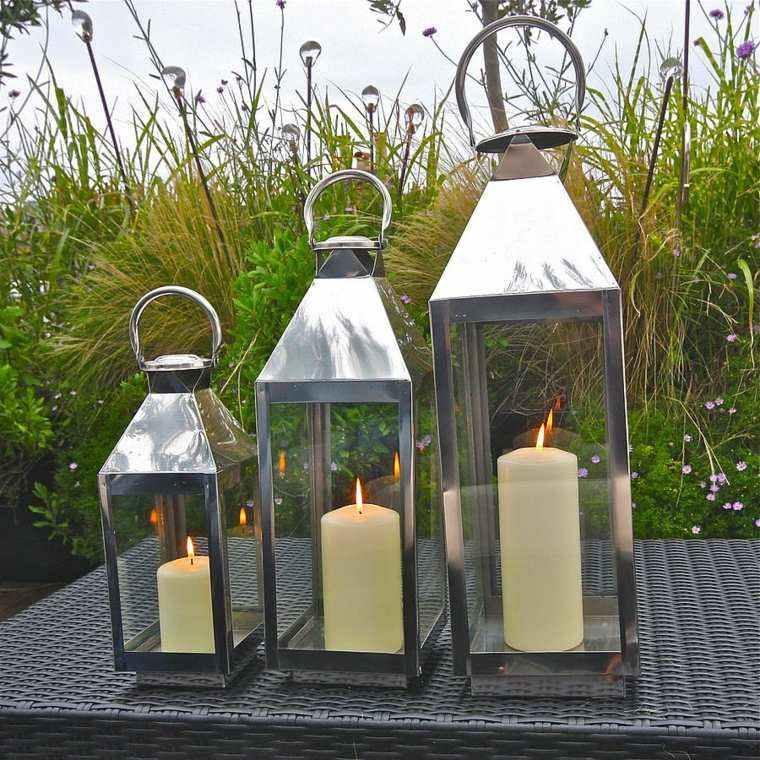 iluminacion jardines metalicas plantas flores