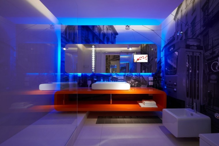 iluminación led baño modern espejo mueble