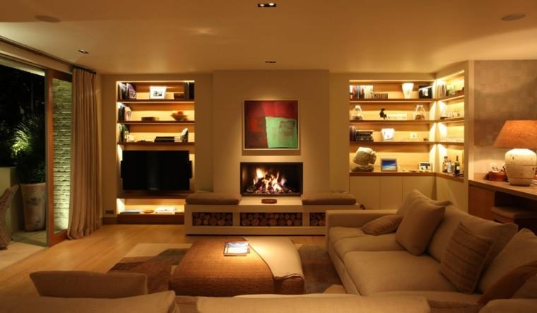 iluminación led calido muebles cortinas rocas