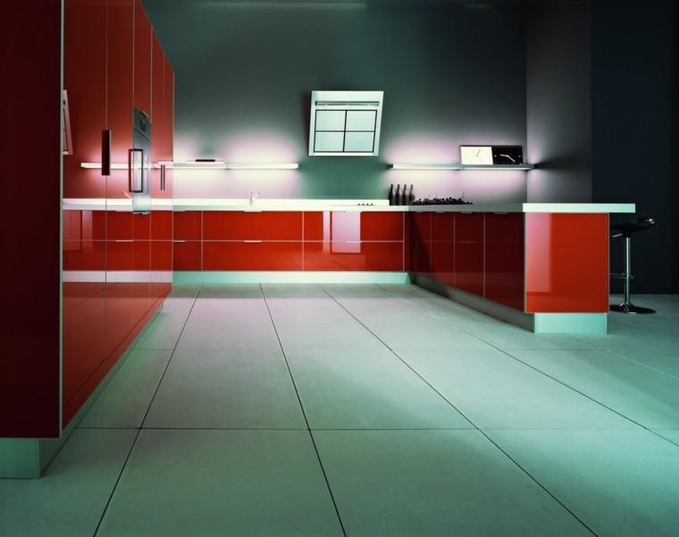 iluminación led cocina moderna amplia rojo