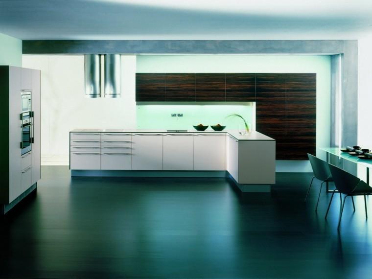iluminación led cocina mueble sillas moderna azulado