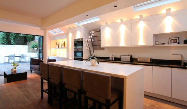 iluminación led cocina sillas flores maceta