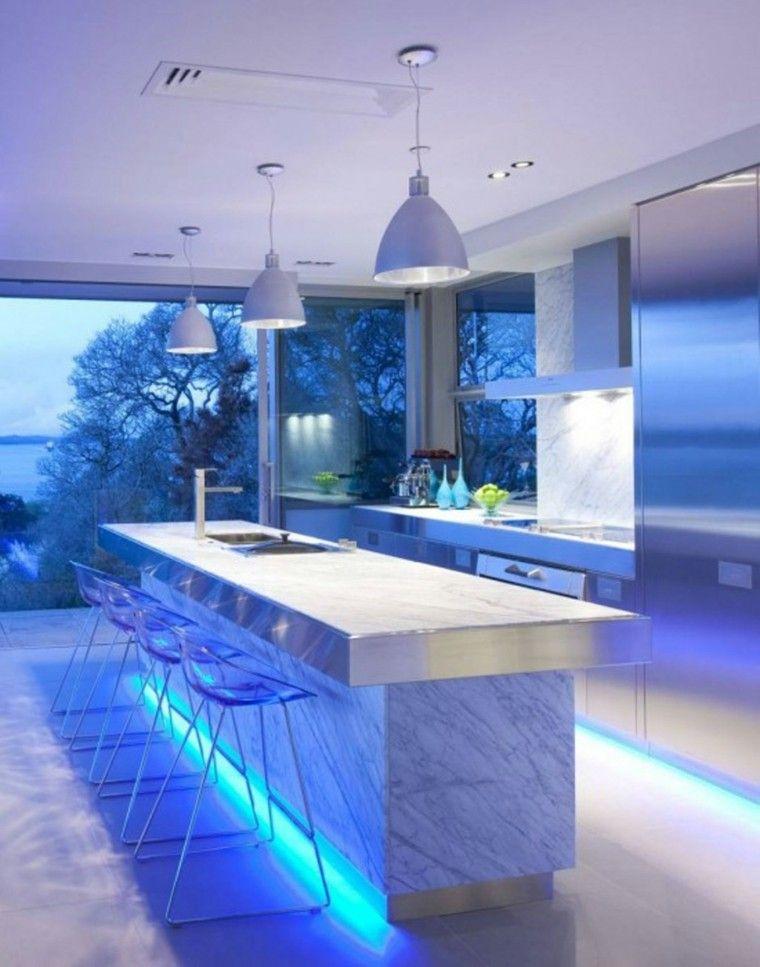 iluminacin led lamparas marmol blanco azul sillas