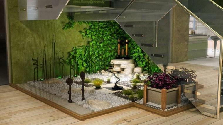 interior jardin escalera diseño rocas