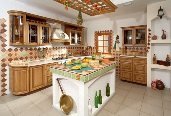 Cocinas con isla multifuncional para todos los estilos - Azulejos rusticos para cocinas ...