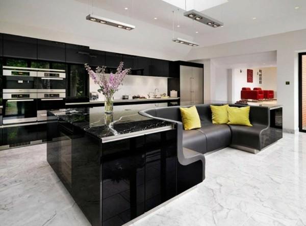isla bar sofá mármol negro