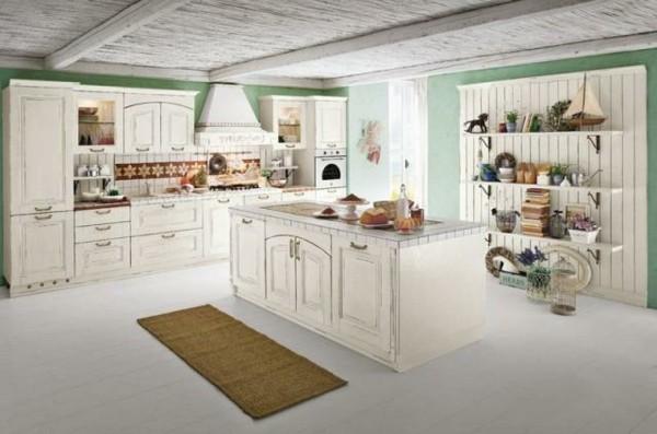 cocinas con isla pared verde