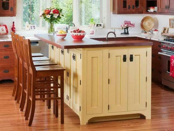 isla cocina armario madera beige